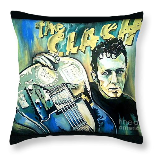 The Clash Throw Pillow featuring the painting The Clash Joe Strummer by Amy Belonio