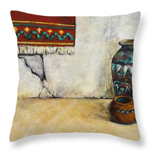 Southwest Art Throw Pillow featuring the painting The Clay Pots by Frances Marino