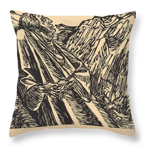 Throw Pillow featuring the drawing The Cliffs by Ernst Barlach