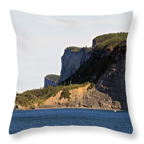 Forillon Throw Pillow featuring the photograph The Cliffs Of Forillon by John Meader