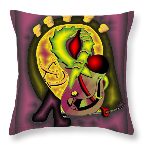 'the Clock Ii' Throw Pillow featuring the digital art The Clock II by Helmut Rottler