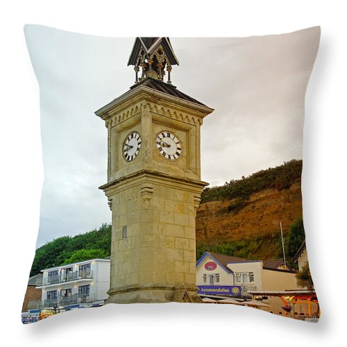 Shanklin Throw Pillow featuring the photograph The Clock Tower At Shanklin by Rod Johnson
