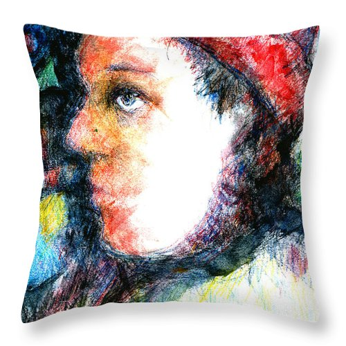 Sad Clown Circus Throw Pillow featuring the drawing The Clown by Andy Mercer