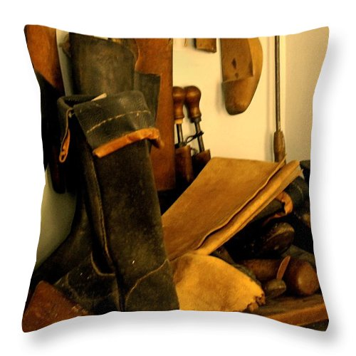 Shoess Throw Pillow featuring the photograph The Cobbler by Ian MacDonald