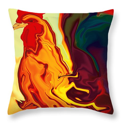 Animals Throw Pillow featuring the digital art The Cock by Rabi Khan