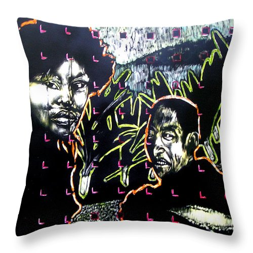Throw Pillow featuring the mixed media The Coffee Vendor by Chester Elmore