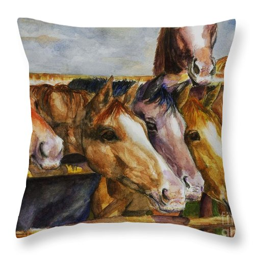 Horses Throw Pillow featuring the painting The Colorado Horse Rescue by Frances Marino