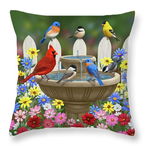 Birds Throw Pillow featuring the painting The Colors Of Spring - Bird Fountain In Flower Garden by Crista Forest