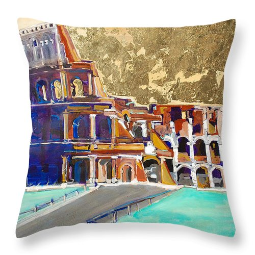 Colosseum Throw Pillow featuring the painting The Colosseum by Kurt Hausmann