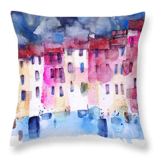Architecture Throw Pillow featuring the painting The coloured houses of Portofino by Alessandro Andreuccetti