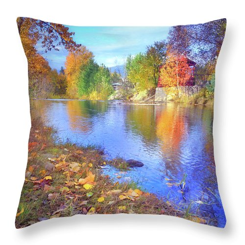 Blue Throw Pillow featuring the photograph The Colours Of October by Tara Turner