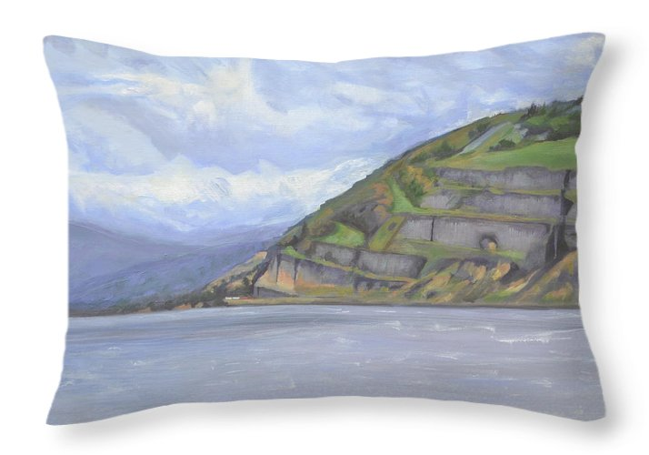 The Columbia River Gorge Throw Pillow featuring the painting Heart of the Gorge by Mary Chant