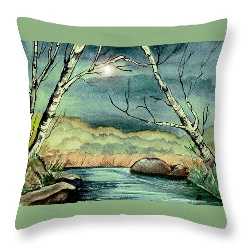 Watercolor Throw Pillow featuring the painting The Coming Storm by Brenda Owen