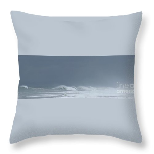 Seascape Throw Pillow featuring the photograph The Coming Storm by Larry Daeumler