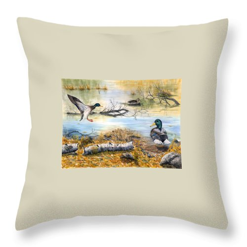 Mallerds Throw Pillow featuring the painting The Competition by Mary Tuomi