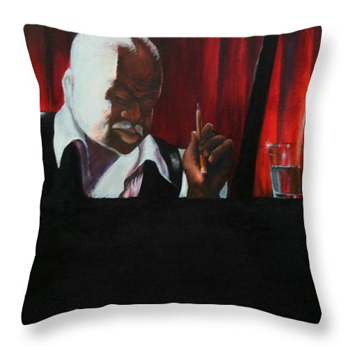 Jazz Musician Throw Pillow featuring the painting The Composer by Arthur Covington