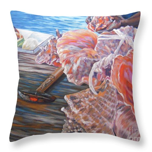 Bahamas Throw Pillow featuring the painting The Conchman by Danielle Perry