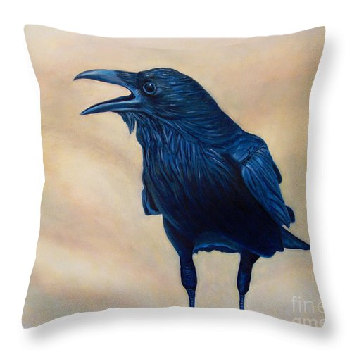 Raven Throw Pillow featuring the painting The Conversation by Brian Commerford