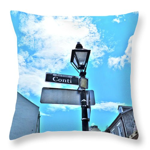 Conti Throw Pillow featuring the photograph The Corner Of Conti by Frances Hattier