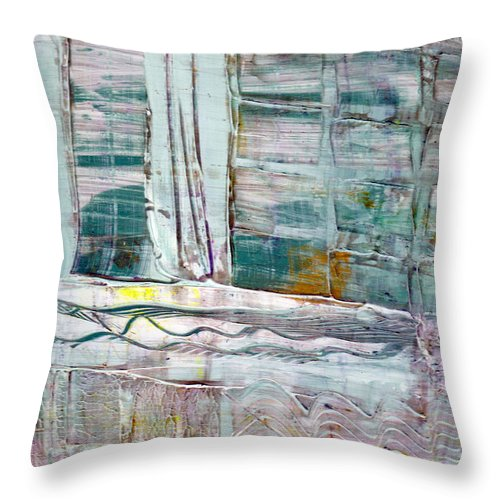 Abstract Throw Pillow featuring the painting The Corner Window by Wayne Potrafka