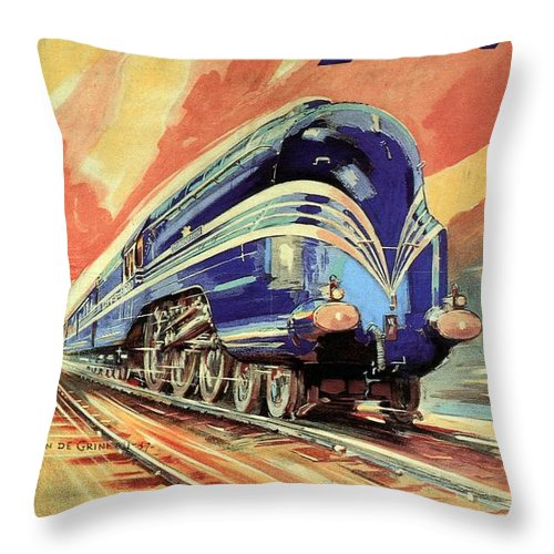 Vintage Locomotive Throw Pillow featuring the painting The Coronation Scot - Vintage Blue Locomotive Train - Vintage Travel Advertising Poster by Studio Grafiikka