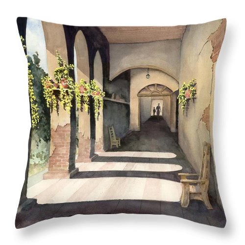 Plants Throw Pillow featuring the painting The Corridor 2 by Sam Sidders