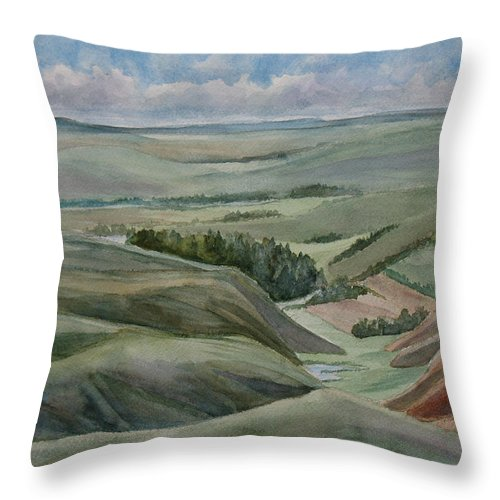 Montana Throw Pillow featuring the painting The Corrugated Plain by Jenny Armitage