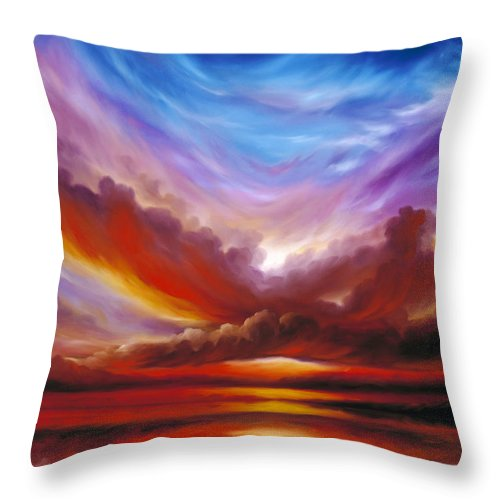 Skyscape Throw Pillow featuring the painting The Cosmic Storm II by James Christopher Hill