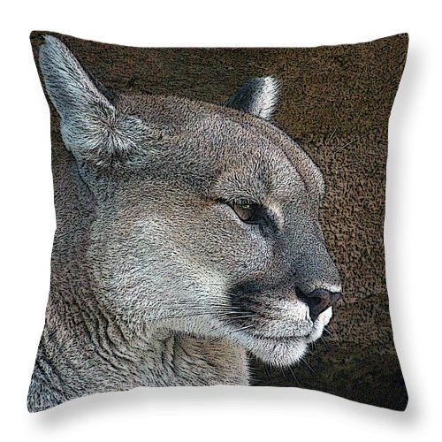Mountain Lion Throw Pillow featuring the photograph The Cougar by Ernie Echols