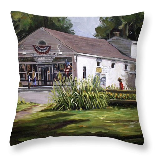 Buildings Throw Pillow featuring the painting The Country Store by Nancy Griswold