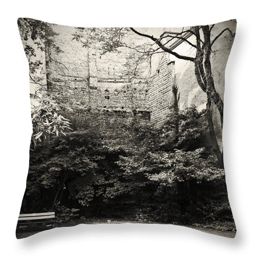 Tree Throw Pillow featuring the photograph The Courtyard by Dorit Fuhg