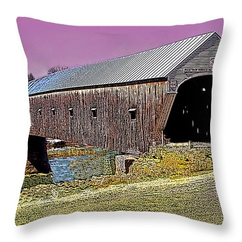 Landscape Throw Pillow featuring the photograph The Covered Bridge by Nancy Griswold