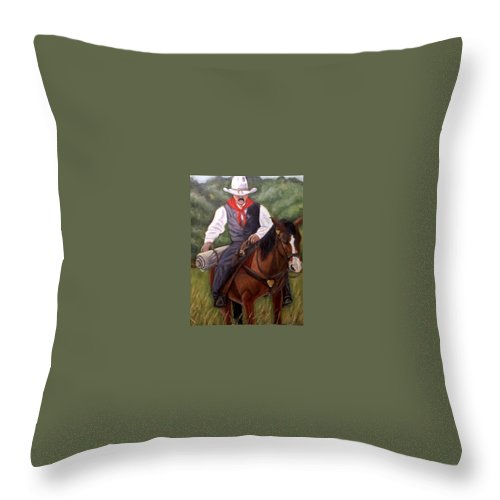 Portrait Throw Pillow featuring the painting The Cowboy by Toni Berry