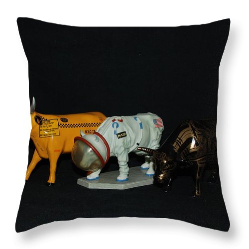 Cows Throw Pillow featuring the photograph The Cows by Rob Hans