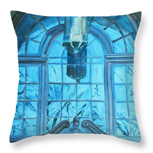 Window Throw Pillow featuring the painting The Craftsmen Lantern by Jenny Armitage
