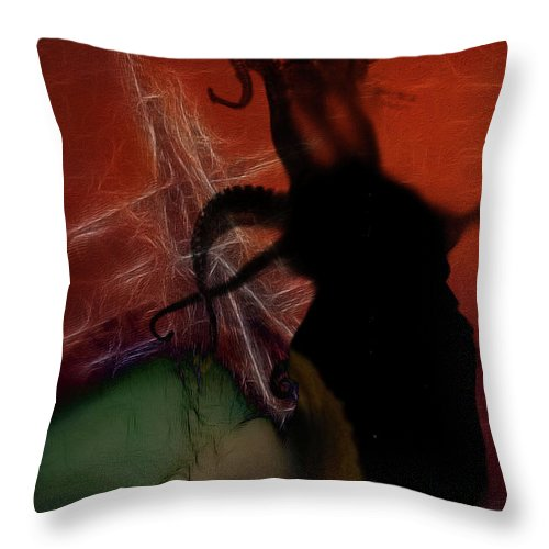 Lovecraft Throw Pillow featuring the digital art The Crane Horror by Mimulux patricia No