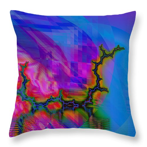 Fractal Throw Pillow featuring the digital art The Crawling Serpent by Frederic Durville