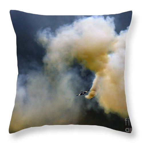 Frecce Tricolori Throw Pillow featuring the photograph The Crazy Flight by Angel Ciesniarska