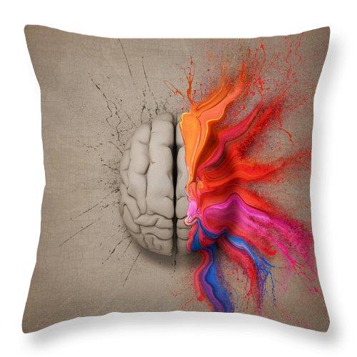 Brain Throw Pillow featuring the digital art The Creative Brain by Johan Swanepoel