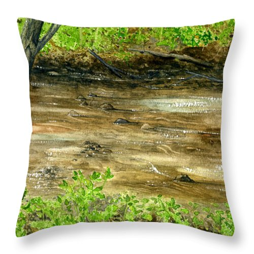 Water Throw Pillow featuring the painting The Creek by Mary Tuomi