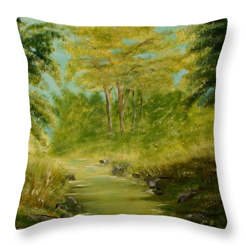 Water River Creek Nature Trees Landscape Throw Pillow featuring the painting The Creek by Veronica Jackson