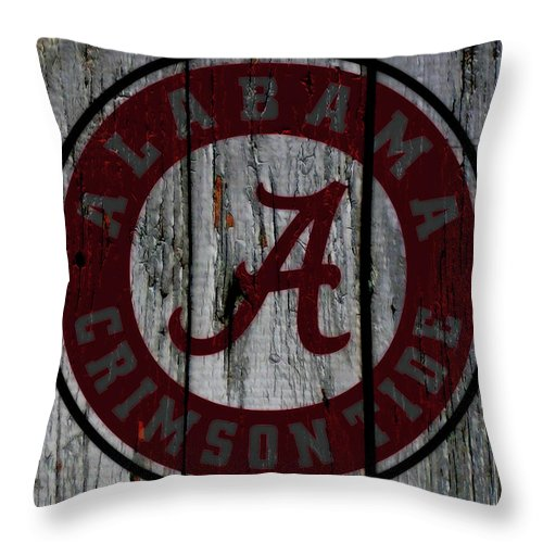 The Alabama Crimson Tide Throw Pillow featuring the mixed media The Crimson Tide 01w by Brian Reaves