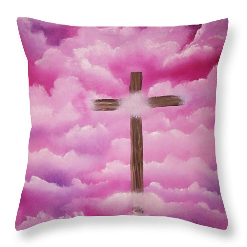Cross Artwork Throw Pillow featuring the painting The Cross Of Redemption by Laurie Kidd
