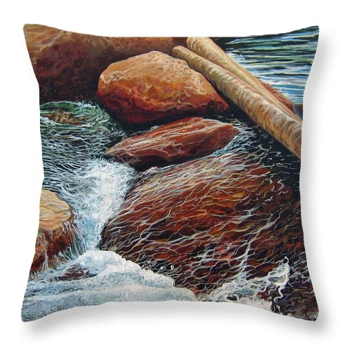 Stream Throw Pillow featuring the painting The Crossing by Hunter Jay
