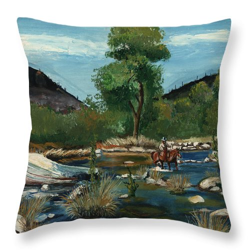 Western Throw Pillow featuring the painting The Crossing by Timothy Tron