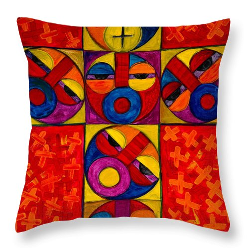 The Cross Throw Pillow featuring the painting The Crucifix by Emeka Okoro