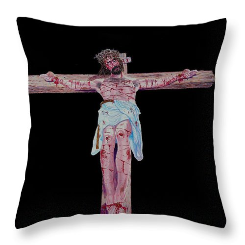 Crucifixion Throw Pillow featuring the painting The Crucifixion by Stan Hamilton
