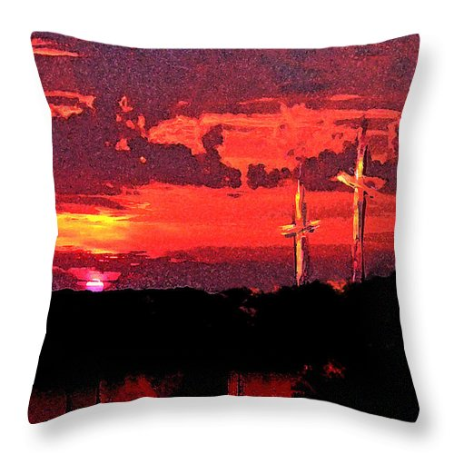 Abstract Throw Pillow featuring the painting The Crucifixtion by Rachel Christine Nowicki