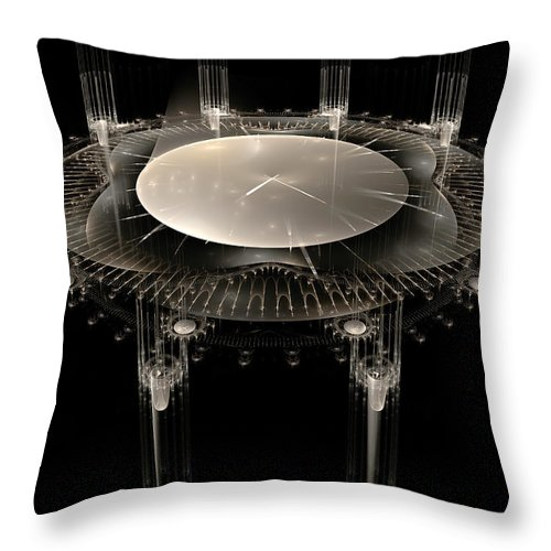 Fractal Throw Pillow featuring the digital art The Crystal Clock by Richard Ortolano