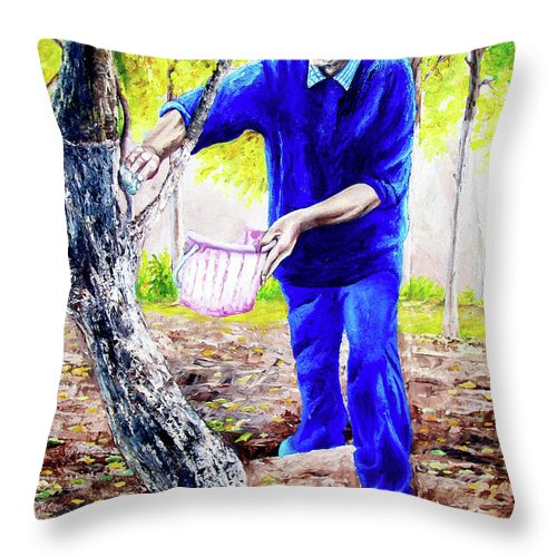 Daddy Throw Pillow featuring the painting The Cure - La Cura by Rezzan Erguvan-Onal
